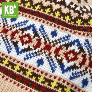 ad3664deb2a KBB Almond Red Blue White Rug Pattern Design Knitted Beanie Hat (3 Hats Lot