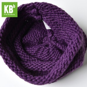 KBB Purple Ridged Design Pattern Knitted Beanie Hat (3 Hats/Lot)