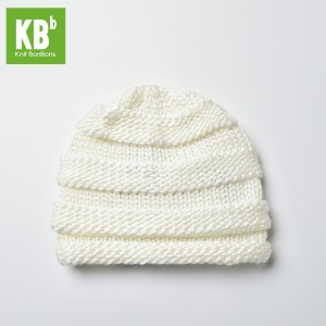 KBB White Ridged Design Pattern Knitted Beanie Hat (3 Hats/Lot)