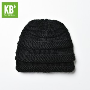 KBB Black Ridged Design Pattern Knitted Beanie Hat (3 Hats/Lot)