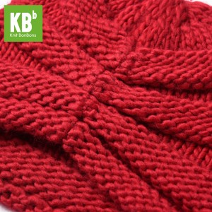 KBB Red Ridged Design Pattern Knitted Beanie Hat (3 Hats/Lot)