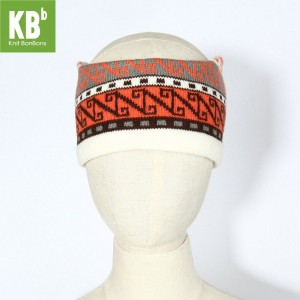 KBB Soft Acrylic White Round Headband Black, Orange, Gray Aztec Pattern Design (3 Headbands/Lot)
