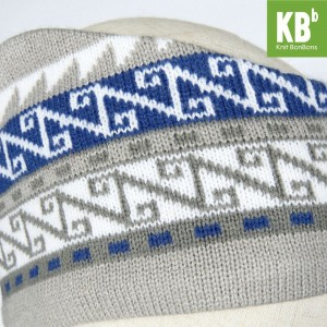 KBB Soft Acrylic Gray Round Headband White, Blue Aztec Pattern Design (3 Headbands/Lot)