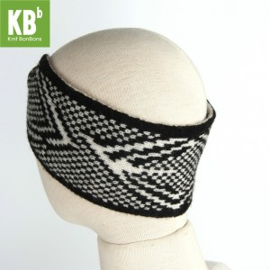 KBB Soft Lambswool Black and White Knotted Knitted Headband (3 Headbands/Lot)