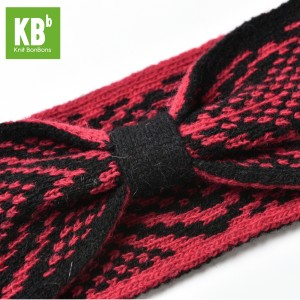 KBB Soft Lambswool Red and Black Knotted Knitted Headband (3 Headbands/Lot)
