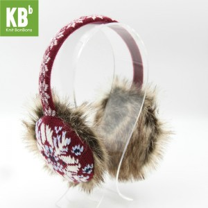 KBB Burgundy Red White Snowflakes Pattern Design Earmuffs (3 Earmuffs/Lot)