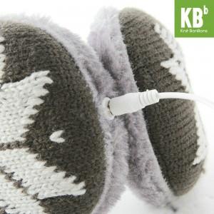 KBB Dark Gray & Light Gray Snowflakes Pattern Design Knitted Earmuffs w/ Audiojack (3 Earmuffs/Lot)