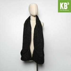 KBB Black Knitted Neck Warmer Scarf w/ Pockets (3 Scarves/Lot)