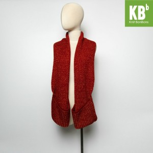 KBB Red Knitted Neck Warmer Scarf w/ Pockets (3 Scarves/Lot)