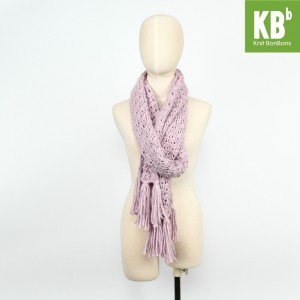 KBB Purple Big Lace Design Neck Warmer Scarf (3 Scarves/Lot)