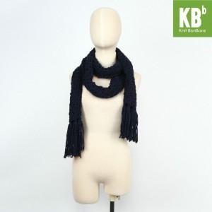 KBB Navy Blue Big Lace Design Neck Warmer Scarf (3 Scarves/Lot)
