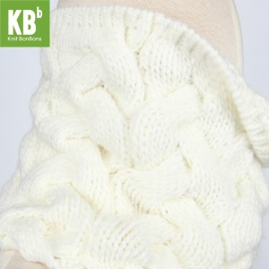 KBB White Knot Braided Neck Warmer Snood (3 Snoods/Lot)