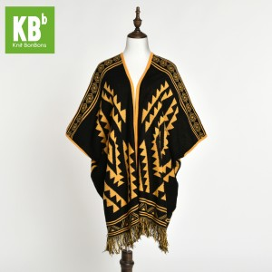 KBB Soft Acrylic Black & Yellow Gold Knitted Top Shawl Wrap (3 Shawls/Lot)