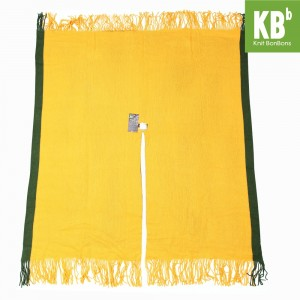 KBB Soft Acrylic Yellow Gold Knitted Top Shawl Wrap Green Edge (3 Shawls/Lot)