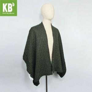 KBB Soft Acrylic Dark Green Braided Top Shawl Wrap (3 Shawls/Lot)
