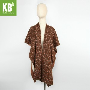 KBB Soft Acrylic Brown Leopard Print Knitted Top Shawl Wrap (3 Shawls/Lot)