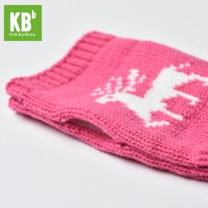 KBB Pink Winter Fingerless Gloves with White Reindeer Design (3 Gloves/Lot)