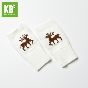 KBB White Winter Fingerless Gloves with Brown Reindeer Design (3 Gloves/Lot)