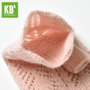 KBB Soft Pink V-Diamond Design Winter Fingerless Gloves (3 Gloves/Lot)