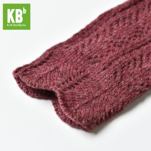 KBB Soft Burgundy Red V-Diamond Design Winter Fingerless Gloves (3 Gloves/Lot)