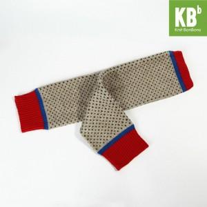 KBB Acrylic Red Blue Beige Brown V Dots Design Leg Warmers (3 Leg Warmers/Lot)