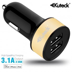 Mini Dual USB Car Charger Adapter Gold