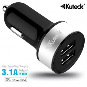 Mini Dual USB Car Charger Adapter Silver