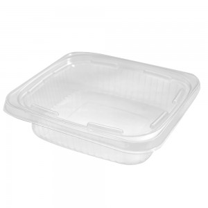 24oz Clear Plastic Bowl Container Flat Lid w/Tampered Resistant Tab (250 Containers / Lot)