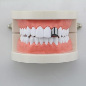 14K Gold Plated Universal Single Tooth Grillz In Black (Top & Bottom Set Included)