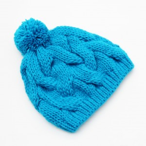 KBB Blue Cable Knit Pattern Knitted Pom Pom Beanie Hat (3 Hats/Lot)