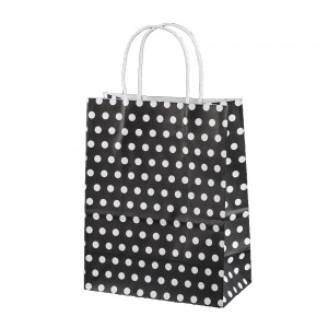 Black & White Polka Dot Paper Gift Bags 5.9 inch x 3.3 inch x 8.3 inch (36 Bags/Lot)