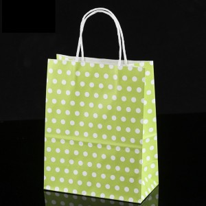 Green & White Polka Dot Paper Gift Bags 5.9 inch x 3.3 inch x 8.3 inch (36 Bags/Lot)