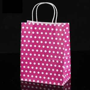 Hot Pink & White Polka Dot Paper Gift Bags 5.9 inch x 3.3 inch x 8.3 inch (36 Bags/Lot)
