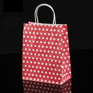 Red & White Polka Dot Paper Gift Bags 8.3 inch x 4.3 inch x 10.6 inch (36 Bags/Lot)