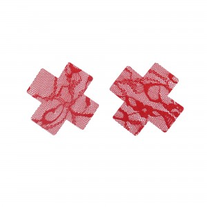 Red Lace Cross Shape Self-Adhesive Disposable Nipple Cover Pasties (25 Pairs/Lot)