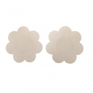 Beige Flower Patel Shape Round Self-Adhesive Disposable Nipple Cover Pasties (25 Pairs/Lot)