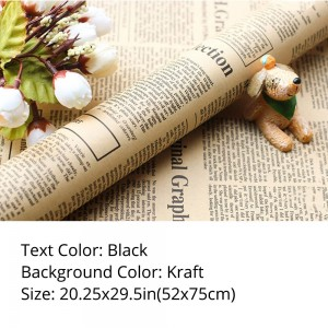 Black Text Newspaper Theme Flower Wrapping Paper (5 packs per lot)
