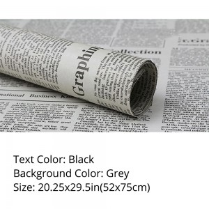 Grey Text Newspaper Theme Flower Wrapping Paper (5 packs per lot)
