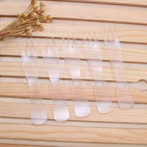 Set of 25 Disposable Small Plastic Forks Birthday Wedding Parties (Clear)  (5 packs per lot)