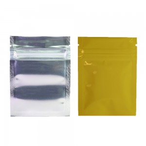 Clear Front/Silver/Gold Back Flat Mylar Foil Ziplock Bags 6.5 cm x 9 cm [2.56 inches x 3.5 inches] (500 Bags/Lot)