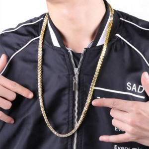 "One-Row Tennis Necklace Gold Iced-Out Hip Hop Chain (24"")"