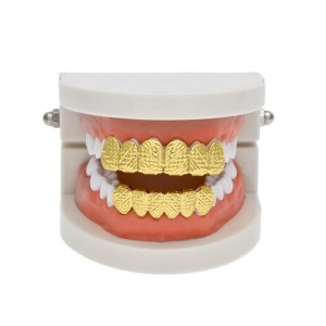 14K Gold Plated Rigid Hip Hop Teeth Grillz (Top & Bottom Set Included)