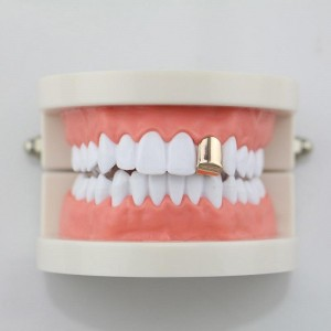 14K Gold Plated Universal Single Tooth Grillz In Rose Gold (Top & Bottom Set Included)