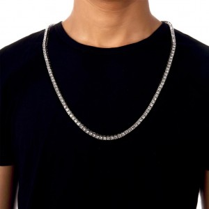 "One-Row Tennis Necklace Silver Iced-Out Hip Hop Chain (24"")"
