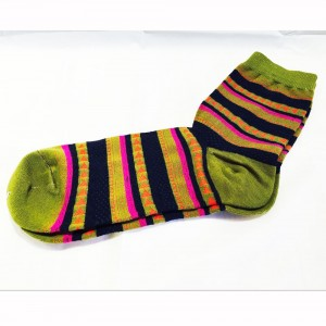 Green Black and Pink Vintage Lined Patterned Cotton Socks (9 Pairs/Lot)