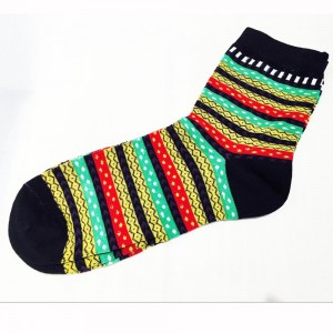 Black Green and Yellow Vintage Lined Patterned Cotton Socks (9 Pairs/Lot)