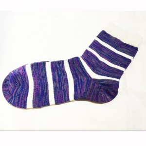 Cream and Purple Striped Patterned Cotton Socks (9 Pairs/Lot)