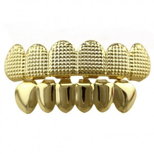 14K Gold Plated With Lattice Shape Hip Hop Teeth Grillz (Top & Bottom Set Included)