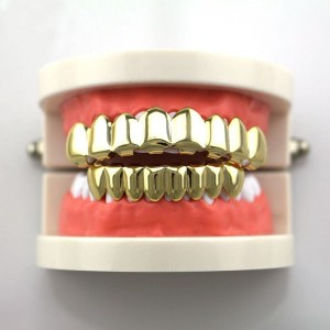 14K Gold Plated Hip Hop Teeth Grillz (Top & Bottom Set Included)